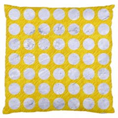 Circles1 White Marble & Yellow Colored Pencil Large Cushion Case (two Sides) by trendistuff