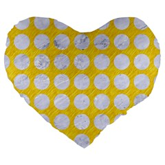 Circles1 White Marble & Yellow Colored Pencil Large 19  Premium Heart Shape Cushions by trendistuff