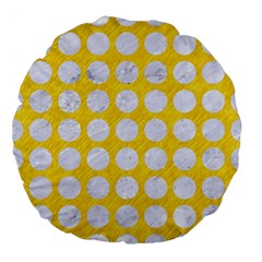 Circles1 White Marble & Yellow Colored Pencil Large 18  Premium Flano Round Cushions by trendistuff