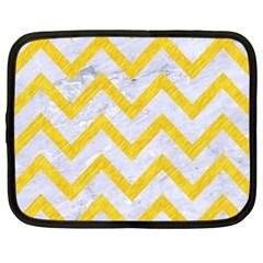 Chevron9 White Marble & Yellow Colored Pencil (r) Netbook Case (xl)  by trendistuff