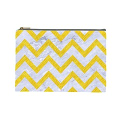 Chevron9 White Marble & Yellow Colored Pencil (r) Cosmetic Bag (large)  by trendistuff