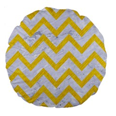 Chevron9 White Marble & Yellow Colored Pencil (r) Large 18  Premium Flano Round Cushions by trendistuff
