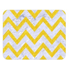 Chevron9 White Marble & Yellow Colored Pencil (r) Double Sided Flano Blanket (large)  by trendistuff