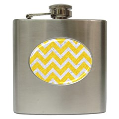Chevron9 White Marble & Yellow Colored Pencilchevron9 White Marble & Yellow Colored Pencil Hip Flask (6 Oz) by trendistuff
