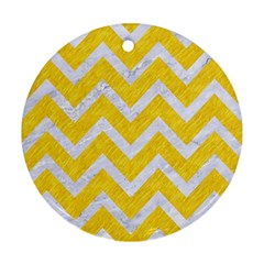 Chevron9 White Marble & Yellow Colored Pencilchevron9 White Marble & Yellow Colored Pencil Round Ornament (two Sides) by trendistuff