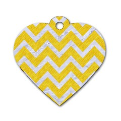 Chevron9 White Marble & Yellow Colored Pencilchevron9 White Marble & Yellow Colored Pencil Dog Tag Heart (one Side) by trendistuff