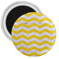 Chevron3 White Marble & Yellow Colored Pencil 3  Magnets by trendistuff