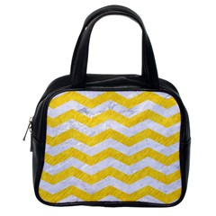 Chevron3 White Marble & Yellow Colored Pencil Classic Handbags (one Side) by trendistuff