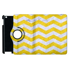 Chevron3 White Marble & Yellow Colored Pencil Apple Ipad 3/4 Flip 360 Case by trendistuff