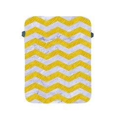 Chevron3 White Marble & Yellow Colored Pencil Apple Ipad 2/3/4 Protective Soft Cases by trendistuff