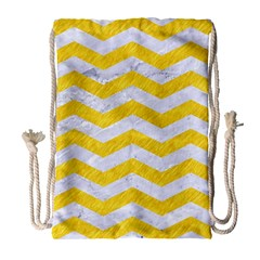 Chevron3 White Marble & Yellow Colored Pencil Drawstring Bag (large) by trendistuff