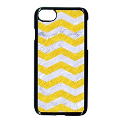 Chevron3 White Marble & Yellow Colored Pencil Apple Iphone 7 Seamless Case (black) by trendistuff