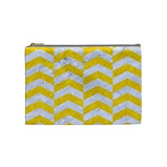Chevron2 White Marble & Yellow Colored Pencil Cosmetic Bag (medium)  by trendistuff