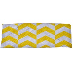 Chevron2 White Marble & Yellow Colored Pencil Body Pillow Case Dakimakura (two Sides) by trendistuff