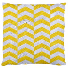 Chevron2 White Marble & Yellow Colored Pencil Standard Flano Cushion Case (two Sides) by trendistuff