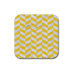 Chevron1 White Marble & Yellow Colored Pencil Rubber Square Coaster (4 Pack)  by trendistuff
