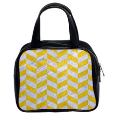 Chevron1 White Marble & Yellow Colored Pencil Classic Handbags (2 Sides)