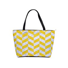 Chevron1 White Marble & Yellow Colored Pencil Shoulder Handbags by trendistuff
