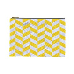 Chevron1 White Marble & Yellow Colored Pencil Cosmetic Bag (large)  by trendistuff