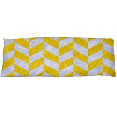 Chevron1 White Marble & Yellow Colored Pencil Body Pillow Case Dakimakura (two Sides) by trendistuff