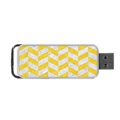 Chevron1 White Marble & Yellow Colored Pencil Portable Usb Flash (two Sides) by trendistuff