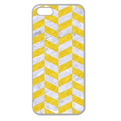 Chevron1 White Marble & Yellow Colored Pencil Apple Seamless Iphone 5 Case (clear) by trendistuff