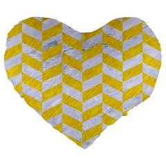 Chevron1 White Marble & Yellow Colored Pencil Large 19  Premium Heart Shape Cushions by trendistuff