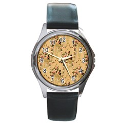 Vintage Floral Pattern Round Metal Watch
