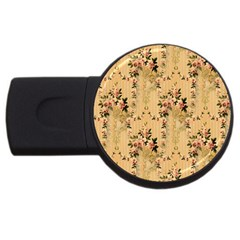 Vintage Floral Pattern Usb Flash Drive Round (4 Gb)