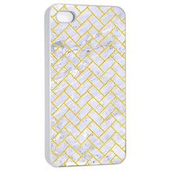 Brick2 White Marble & Yellow Colored Pencil (r) Apple Iphone 4/4s Seamless Case (white) by trendistuff