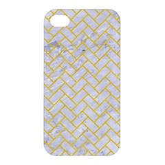 Brick2 White Marble & Yellow Colored Pencil (r) Apple Iphone 4/4s Hardshell Case by trendistuff