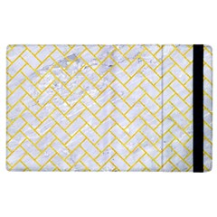 Brick2 White Marble & Yellow Colored Pencil (r) Apple Ipad 3/4 Flip Case by trendistuff