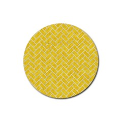 Brick2 White Marble & Yellow Colored Pencil Rubber Coaster (round)  by trendistuff