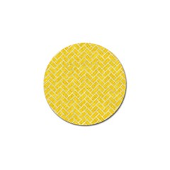 Brick2 White Marble & Yellow Colored Pencil Golf Ball Marker by trendistuff