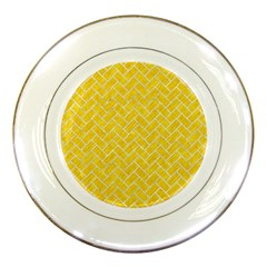 Brick2 White Marble & Yellow Colored Pencil Porcelain Plates by trendistuff