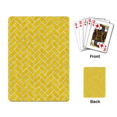 Brick2 White Marble & Yellow Colored Pencil Playing Card by trendistuff
