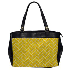 Brick2 White Marble & Yellow Colored Pencil Office Handbags by trendistuff