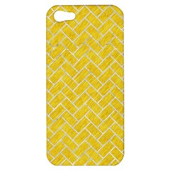 Brick2 White Marble & Yellow Colored Pencil Apple Iphone 5 Hardshell Case by trendistuff