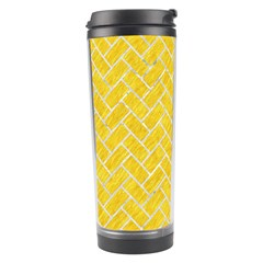 Brick2 White Marble & Yellow Colored Pencil Travel Tumbler by trendistuff