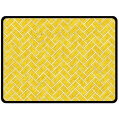 Brick2 White Marble & Yellow Colored Pencil Double Sided Fleece Blanket (large)  by trendistuff