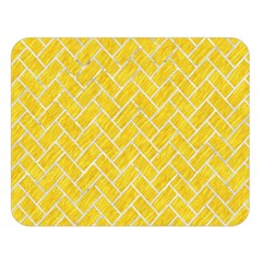 Brick2 White Marble & Yellow Colored Pencil Double Sided Flano Blanket (large)  by trendistuff
