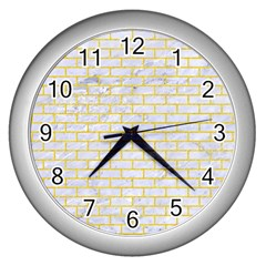 Brick1 White Marble & Yellow Colored Pencil (r) Wall Clocks (silver)  by trendistuff