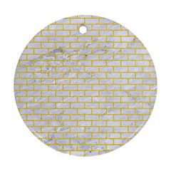 Brick1 White Marble & Yellow Colored Pencil (r) Round Ornament (two Sides) by trendistuff