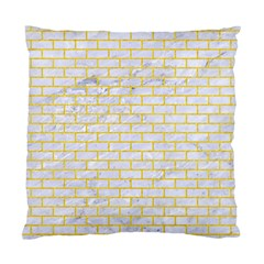 Brick1 White Marble & Yellow Colored Pencil (r) Standard Cushion Case (two Sides) by trendistuff