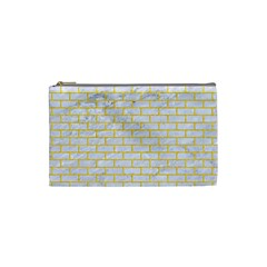 Brick1 White Marble & Yellow Colored Pencil (r) Cosmetic Bag (small)  by trendistuff