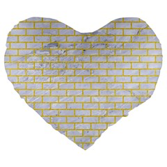 Brick1 White Marble & Yellow Colored Pencil (r) Large 19  Premium Heart Shape Cushions by trendistuff