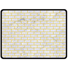 Brick1 White Marble & Yellow Colored Pencil (r) Double Sided Fleece Blanket (large)  by trendistuff