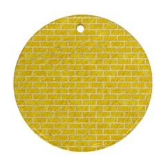 Brick1 White Marble & Yellow Colored Pencil Round Ornament (two Sides) by trendistuff