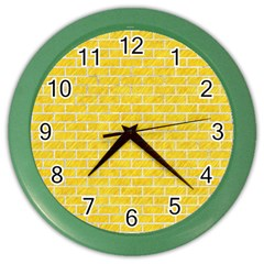 Brick1 White Marble & Yellow Colored Pencil Color Wall Clocks by trendistuff