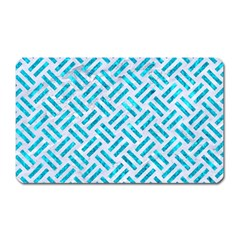 Woven2 White Marble & Turquoise Marble (r) Magnet (rectangular) by trendistuff